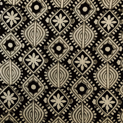 Pure Cotton Black And Grey Tribal Motifs Hand Block Print Fabric