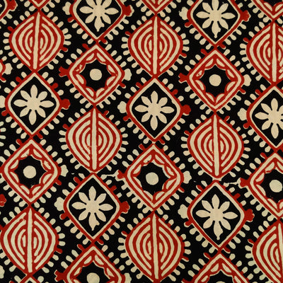 Pure Cotton Black And Red Tribal Motifs Hand Block Print Fabric