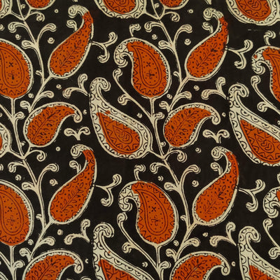 Pure Cotton Black Dabu Jahota With Orange And Beige Leafy Kairi Jaal Hand Block Print Fabric