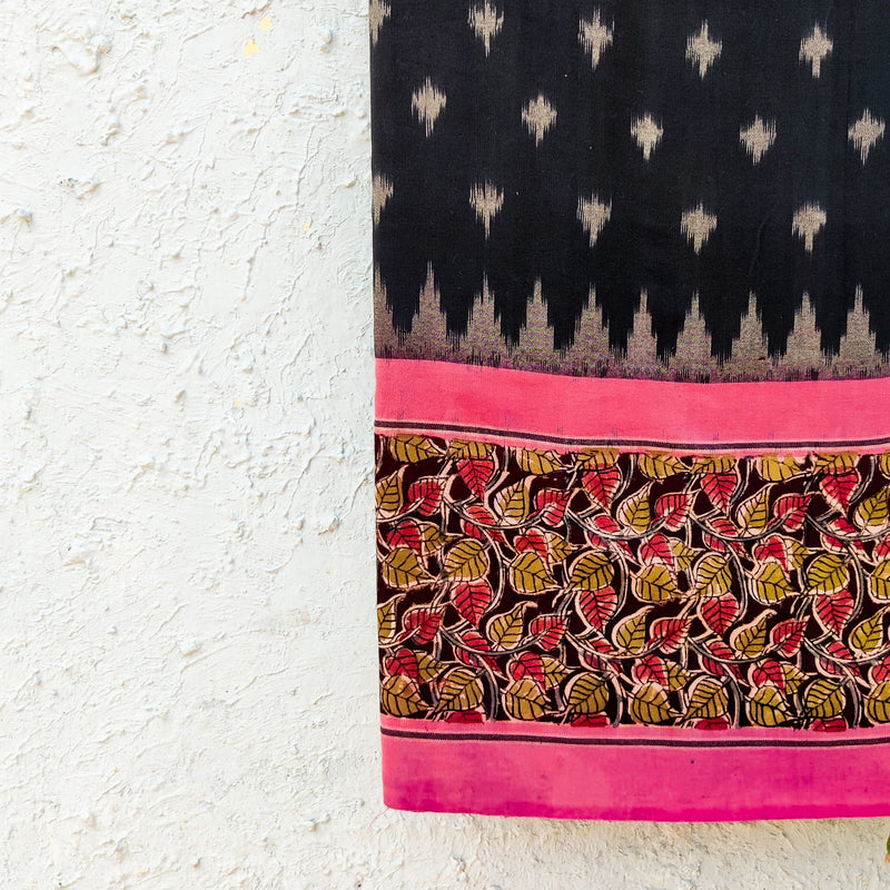 Pure Cotton Black Ikkat With Pink Kalamkari Border Block Printed Woven Fabric