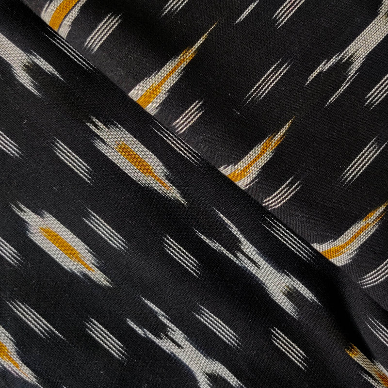 Pure Cotton Black Ikkat With XO Grey Mustard Weaves Woven Fabric