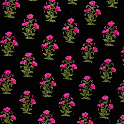 Pure Cotton Black  Screen Print With Pink Floral Motifs