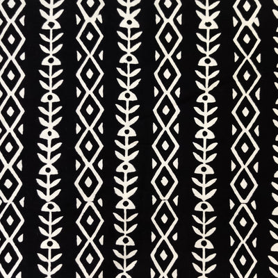 Pure Cotton Black With White Diamond And Fish Bone Stripes Hand Block Print Fabric