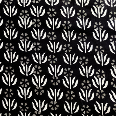 Pure Cotton Black With White Tiny Plant Motifs Hand Block Print Fabric
