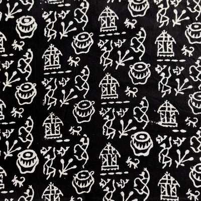 Pure Cotton Black With White Tribal Village Hand Block Print Fabric