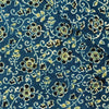 Pure Cotton Blue Ajrak With Black And Green Flower Jaal Hand Block Print Fabric
