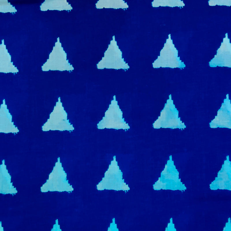 Pure Cotton Blue With Off White Triangle Screen Print Fabric