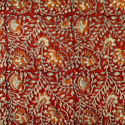 Pure Cotton Brown Maroon With Orange And Beige Flower Jaal Hand Block Print Fabric