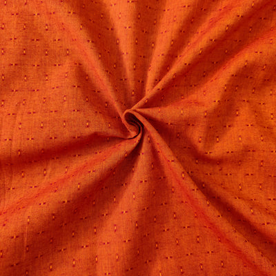 Pure Cotton Brown Orange Tiny Leno Weave Woven Fabric