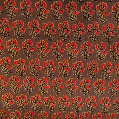 Pure Cotton Brown With Red Flower Plant Screen Print Fabric
