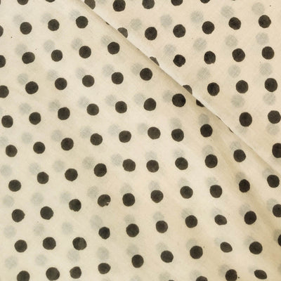 Pure Cotton Cream Dabu With Tiny Grey Polka Dots Hand Block Print Fabric