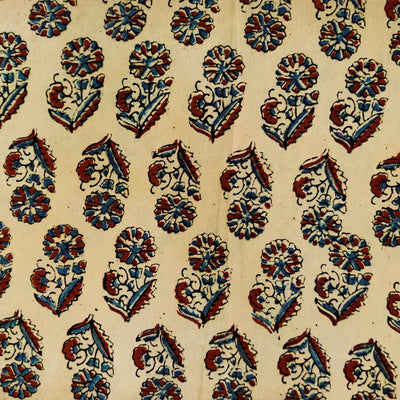 Pure Cotton Cream With Blue Maroon Flower Plant Motif Hand Block Print Blouse Fabric ( 90 Cm )