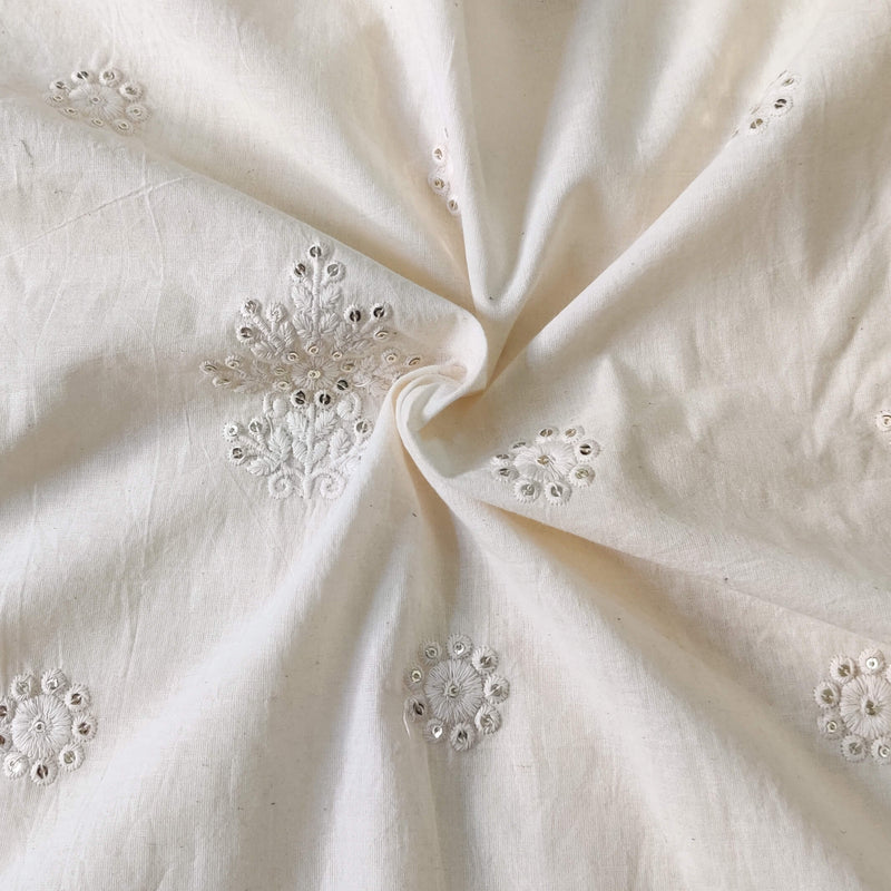Pure Cotton Cream With Self  Embroidered Motifs Fabric