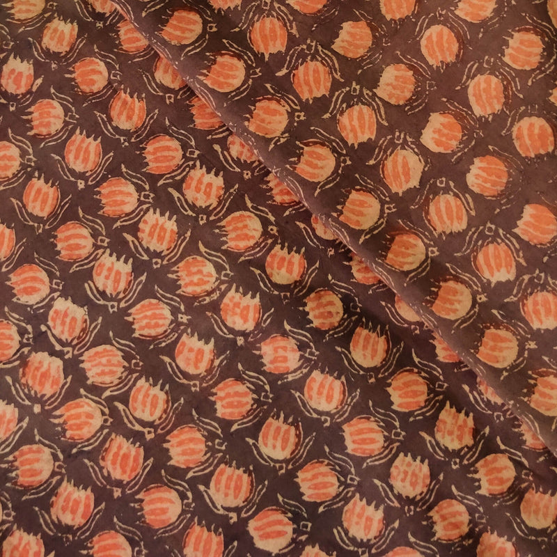 Pure Cotton Dabu Ajrak Brown With Rustic Orange Kamal Jaal Hand Block Print Fabric