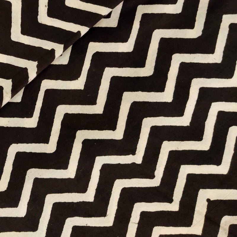 Pure Cotton Dabu Black And Cream Zigzag Hand Block Print Fabric