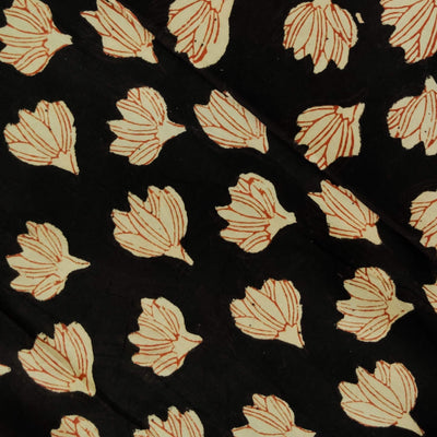 Pure Cotton Dabu Black With Cream Fallen Flower Hand Block Print Fabric