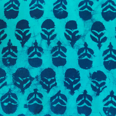 Pure Cotton Dabu Blue With Dark Blue Motifs Hand Block Print Blouse Fabric (1 Meter )