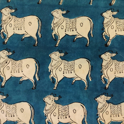 Pure Cotton Dabu Blue With The Moo Print Hand Block Print Fabric