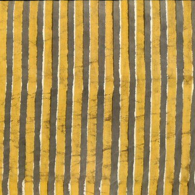 Pure Cotton Dabu Brownish Grey With Mustard Lines Hand Block Print Fabric