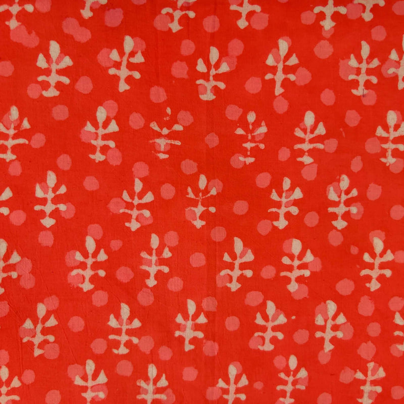 Pure Cotton Dabu Carrot Peach With Tiny Motif And Polka Hand Block Print Blouse Fabric ( 85 Cm )