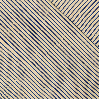 Pure Cotton Dabu Cream And Blue Stripes Hand Block Print Fabric