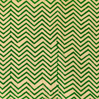 Pure Cotton Dabu Cream And Green Zig Zag Hand Block Print Fabric