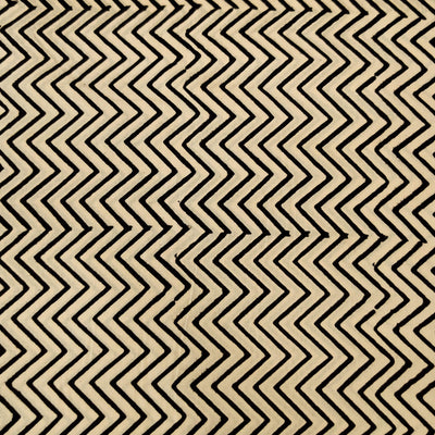 Pure Cotton Dabu Cream With Black Zig Zag Hand Block Print Fabric
