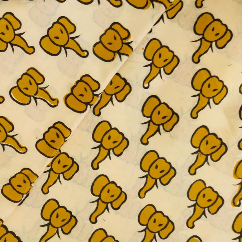 Pure Cotton Dabu Cream With Mustard Baby Elephant Hand Block Print Blouse Fabric ( 80 cm )