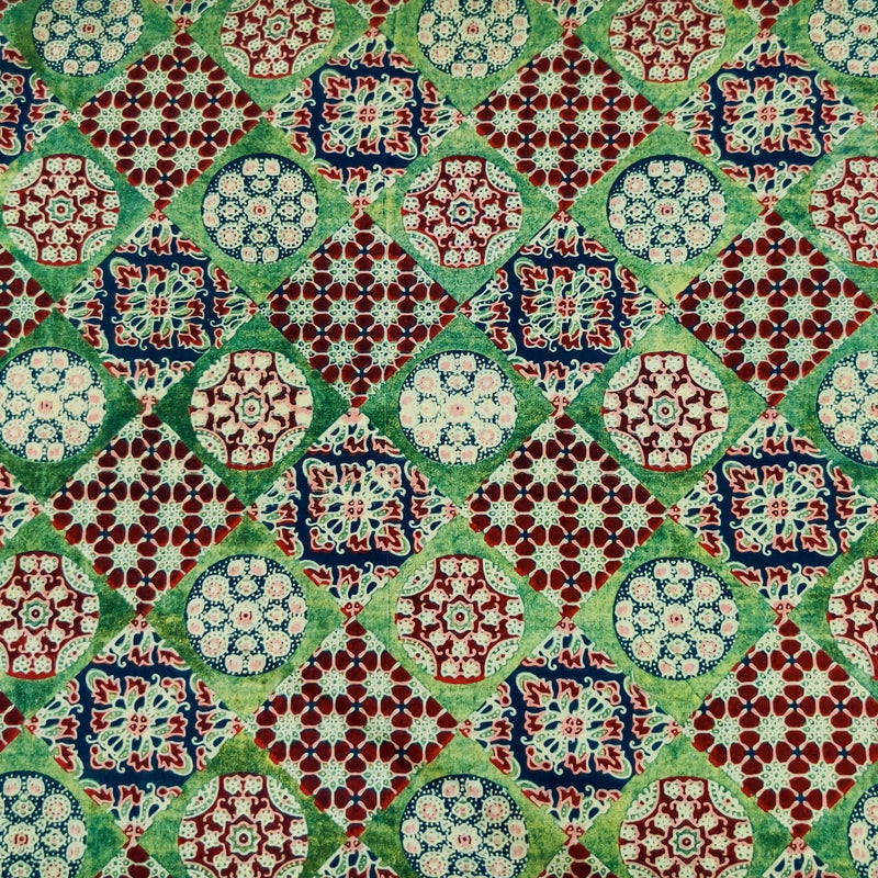 Pure Cotton Dabu Green With Ajrak Multiple Tiles Hand Block Print Fabric