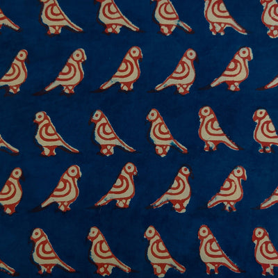 Pure Cotton Dabu Indigo With Red Outlined Bird Hand Block Print Fabric