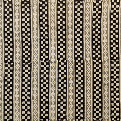 Pure Cotton Dabu Jahota Black And Grey Checks Stripes Hand Block Print Fabric