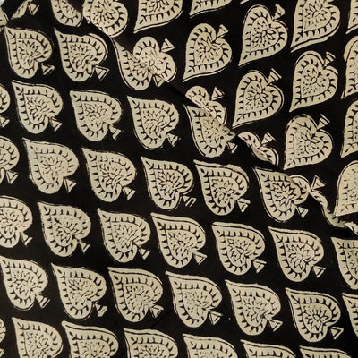 Pure Cotton Dabu Jahota Black With Intricate Spade Hand Block Print Fabric