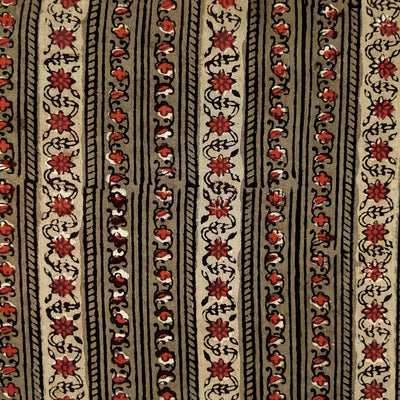 Pure Cotton Dabu Jahota  Brown With Intricate Floral Creeper Stripes Hand Block Print Fabric