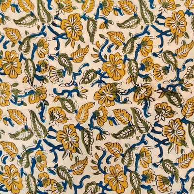 Pure Cotton Dabu Jahota Cream With Blue And Mustard Floral Jaal Hand Block Print Fabric