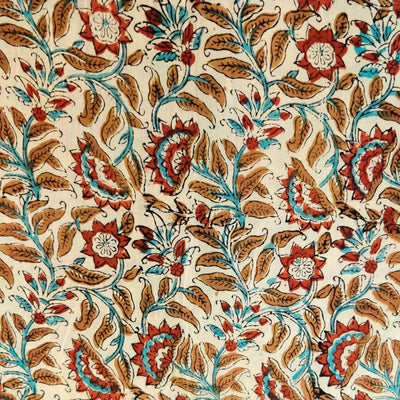 Pure Cotton Dabu Jahota Cream With Blue Brown Maroon Jaal Hand Block Print Fabric