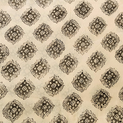 Pure Cotton Dabu Jahota Cream With Grey And Black Motif Hand Block Print Fabric