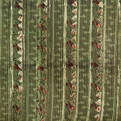 Pure Cotton Dabu Jahota Dull Green With Lines And Triangles Intricate Stripes Hand Block Print Blouse Fabric ( 1 Metre )