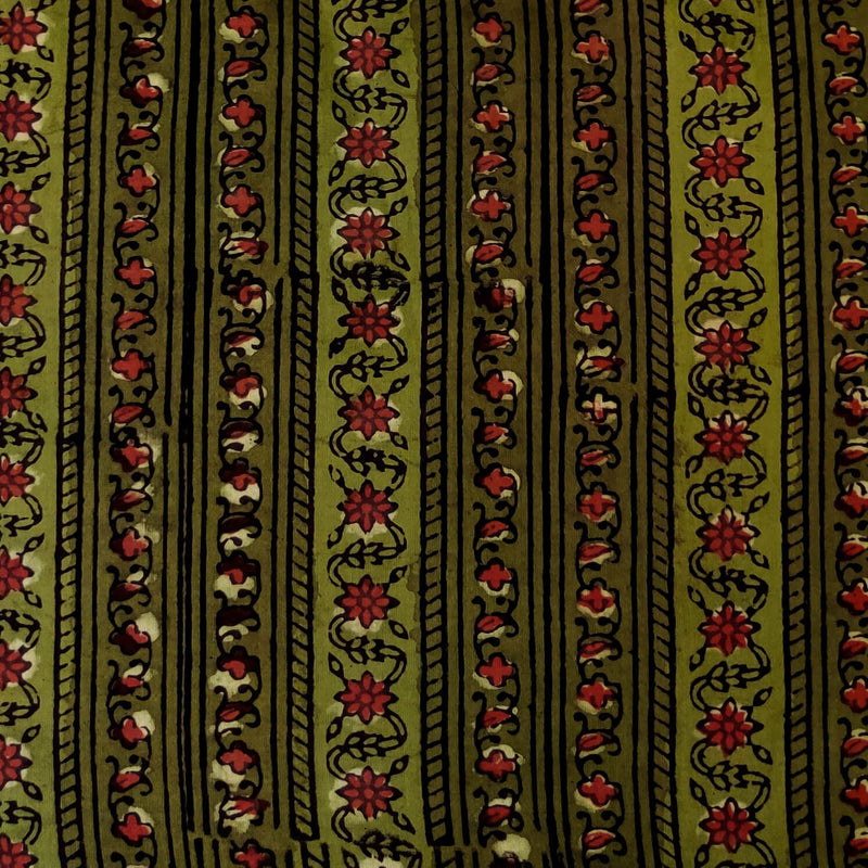 Pure Cotton Dabu Jahota Green With Intricate Floral Creeper Stripes Hand Block Print Fabric