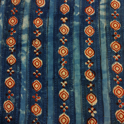 Pure Cotton Dabu Jahota Indigo With Border Stripes Hand Block Print Fabric