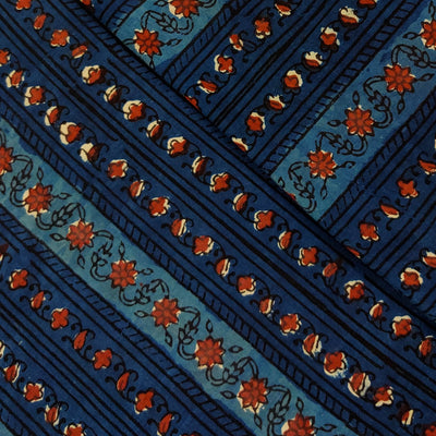 Pure Cotton Dabu Jahota Indigo With Intricate Floral Creeper Stripes Hand Block Print Fabric