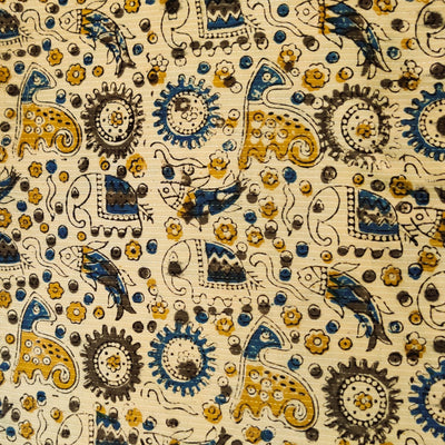 Pure Cotton Dabu Jahota Kaatha With Animals In a Jungle Hand Block Print Fabric