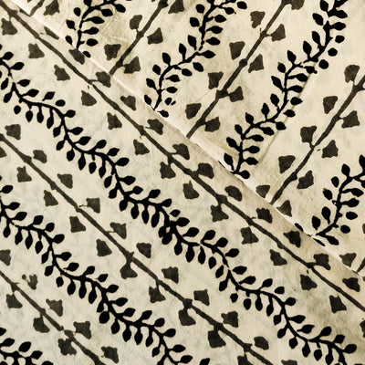 Pure Cotton Dabu Jahota Light Beige With Black Creeper Hand Block Print Fabric