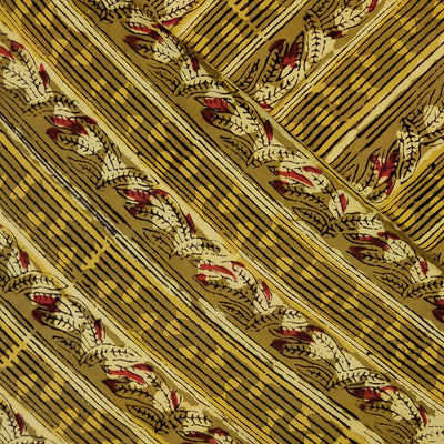 Pure Cotton Dabu Jahota Mustard With Leafy Creeper Stripes Hand Block Print Fabric