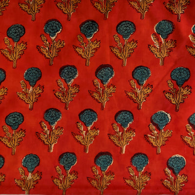 Pure Cotton Dabu Jahota Rust With Blue Genda Phool Hand Block Print Fabric