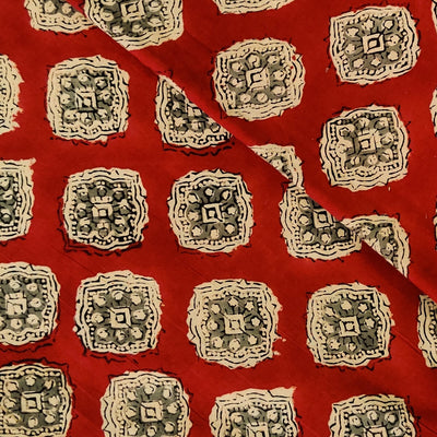 Pure Cotton Dabu Jahota Rust With Grey And Cream Motif Hand Block Print Fabric