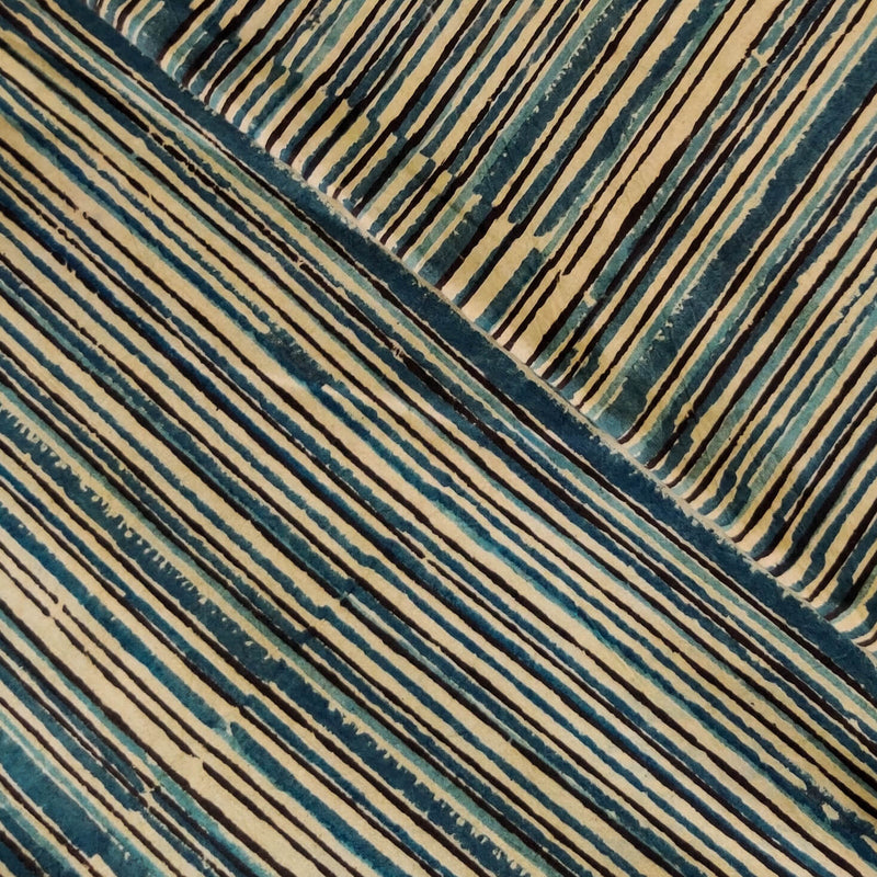 Pure Cotton Dabu Jahota Shades Of Blue Lines Hand Block Print Fabric