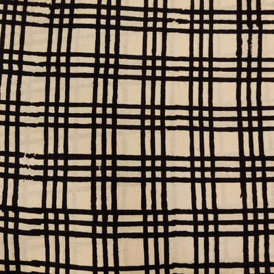 Pure Cotton Dabu Jahota With Black Checks Hand Block Print Fabric