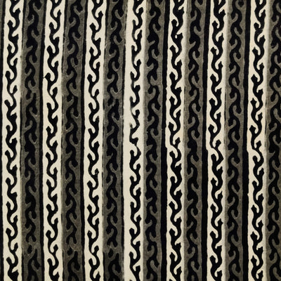 Pure Cotton Dabu Jahota With Grey And Off White Stripes With Black Creeper hand Block Print Fabric