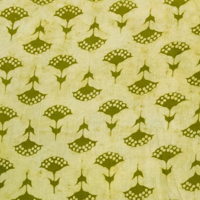 Pure Cotton Dabu Light With Green Flower Motif Hand Block Print Blouse Fabric 80 cm