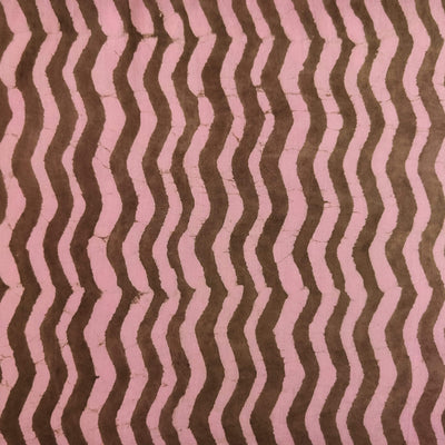 Pure Cotton Dabu Mauve And Brown Zig Zag Hand Block Print Fabric